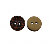 Yongshida 11mm Diameter Pattern Concave Round Shape 2 Holes Scrapbooking Sewing Toggle Wood Buttons Pack of 50