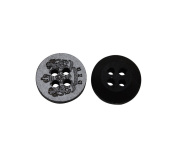 Yongshida 13mm Diameter Crown Pattern Round Shape 4 Holes Scrapbooking Sewing Toggle Wood Buttons Pack of 50