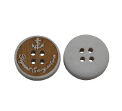 Yongshida 16mm Diameter White And Brown Round Shape 4 Holes Scrapbooking Sewing Toggle Wood Buttons Pack of 30