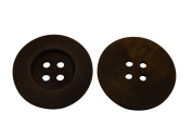 Yongshida 60mm Dia Big Size Dark Brown Concave Round Shape 4 Holes Scrapbooking Sewing Toggle Wood Buttons Pack of 6