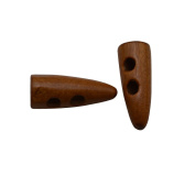 Yongshida Light Brown 20mm X 8mm Horn Shape 2 Holes Scrapbooking Sewing Toggle Wood Buttons Pack of 30