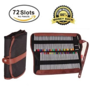 AFUNTA Pencils Holder,72 Assorted Colour pencils Organiser,Roll UP Washable Canvas Pencil Bag for School Office Art ect.