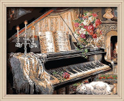 DIY PBN-paint by numbers Piano Room 41cm by 50cm Frameless.