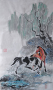 Traditional Oridental Art Hand Painted Chinese Brush Ink Watercolour Painting on Rice Paper Horse Signed Decorations Decor for Office Living Room Bedroom 70cm X 33cm