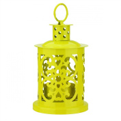 Diva At Home Shiny Yellow Mini Votive or Tea Light Candle Holder Lantern with Dot and Scroll Cutouts, 14cm