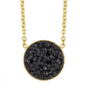 ELYA Gold IP Stainless Steel Black Crystal Circle Pendant Necklace