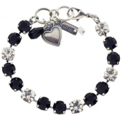 "Mariana ""Checkmate"" Tennis Bracelet, Silver Plated with Black and Clear Swarovksi Crystal, 20cm 4252 280-1"