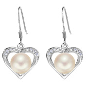 EleQueen 925 Sterling Silver CZ AAA Button Cream Freshwater Cultured Pearl Love Heart Bridal Hook Earrings