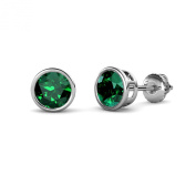 Emerald Bezel Set Solitaire Stud Earrings 1.90 ct tw in 14K White Gold