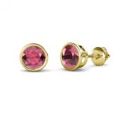 Rhodolite Garnet Bezel Set Solitaire Stud Earrings 2.00 ct tw in 14K Yellow Gold
