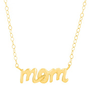 Just Gold 'Mom' Script Necklace in 14K Gold