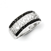 1/4 Ctw (I2-I3 clarity) Black & H-I White Diamond Scroll Tapered Band in Sterling Silver