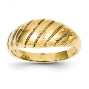 14k Yellow Gold Polished Scalloped Dome Ring