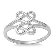 Celtic Infinity Double Heart Ring .925 Sterling Silver Promise Band Sizes 3-13