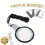 MagniPros 3x Magnifying Glass Necklace/Pendant Magnifier with 6x Spot Lens & 3 Bonus Magnifying Wallet Lenses -Ideal for Reading Small Prints & Low Vision Aids