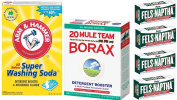 Laundry Soap Kit - Fels Naptha 4 bars, 20 Mule Team Borax Natural Laundry Booster, & Arm & Hammer Super Washing Soda