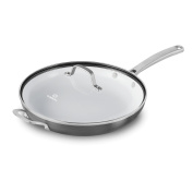 Calphalon 1937375 Classic Ceramic Nonstick Omelette Fry Pan with Cover, 30cm , Grey/White