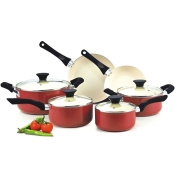 New Cook N Home Red Nonstick Ceramic Coating 10-piece Cookware Set