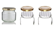Withjenny Glass Storage Container Jars With Lids, 250ml Set Of 3, Heat Cut Shrink Clear Bands For Caps Sealed For Food Protection
