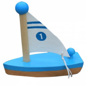 YEDAYS Wooden Blue Sailing Boat Bathroom Baby Bath Toy with retail box