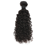 Rosette Hair Curly Wave Hair Extension/Weft, 100% Brazilian Virgin Remy Human Hair with Unprocessed Natural Black Colour, Size 30cm - 60cm