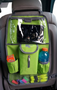 Heavy Duty Backseat Organiser Quality Car Seat Back Organiser Storage Pocket Kick Mat With Ipad Tablet & Tissue Dispenser Lime Green