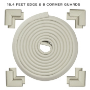 KINGLAKE Best Table Edge Guard 5m Edge And 8 Corner Guards Cushions Extra Soft Extra Protective Baby Table Corner Protectors Greyish White