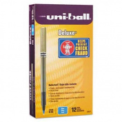 uni-ball Deluxe Roller Ball Stick Waterproof Pen, Blue Ink, Micro, Dozen