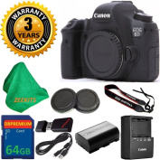 Canon EOS 6D 20.2 MP Digital SLR Camera Body, Original Canon Battery and Charger, 3 Year USA CPS Warranty, 64GB ZEEKITS Memory Card, Card Reader