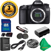 Canon EOS 70D 20.2 MP Digital SLR Camera Body, Original Canon Battery and Charger, 3 Year USA CPS Warranty, 16GB ZEEKITS Memory Card, Card Reader