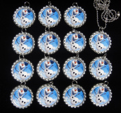 15 OLAF Flat Bottle Cap Necklaces for Birthday, Party Favour Set 1