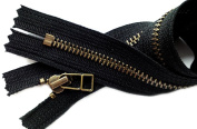 ZipperStop Wholesale Authorised Distributor YKK® Exosed Zipper 36cm Antique Brass Finished (Special) YKK Zipper Number 5 with Fancy Bell Pull Closed Bottom - Colour Black
