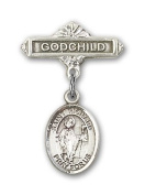 ReligiousObsession's Sterling Silver Baby Badge with St. Richard Charm and Godchild Badge Pin