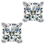 0.54 ct Ladies Princess Cut Diamond Stud Earrings In 14 Karat White Gold Screw Back