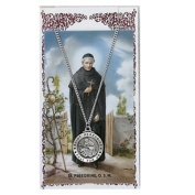 Catholic Saints Necklace for Men or Women, Pewter Silver St. Peregrine Medal & 60cm Chain, Prayer Card Set. Religious & Inspirational, Catholic Patron Saint of Cancer & Running Sores