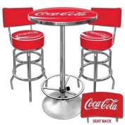 Ultimate Coca-Cola Game room Stools w Back & Table Set
