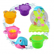 YIXIN Dolphin Waterwheel Stack Toy Bath toy with Stacking Cups Suction Cup for Baby Early Learning,Colour Random Delivery