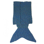 YunNasi Handmade Mermaid Tail Blanket for Adults, Feet Go in Fins, Super Soft Cosy Cotton, Perfect Little Mermaid Cute Gift