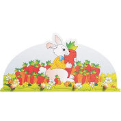 Dida - hanger from a wooden wall for the room for children with a cute rabbit in a field of carrots