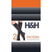 H & H Women's Opaque Pattern Trouser Sock 2 Pack