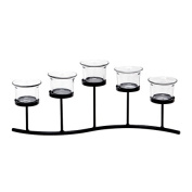 Home & You Tealight Holder Wave with Clear Glass Cup Black Metal 5pc
