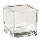 Necessities Brand Square Tealight Candle Holder Clear