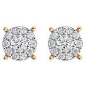 1/2 Carat of Diamonds 9ct Gold Diamond Cluster Stud Earrings