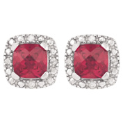 Sterling Silver Diamond and Created Ruby Cushion Cut Earrings