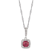 Sterling Silver Diamond and Created Ruby Cushion Cut Pendant