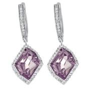 J Lili Sterling Silver Crystals Pink Crystal Drop Earrings