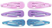 6 Barrettes Hair Sofa Square 4.5 cm - Pink Purple Turquoise