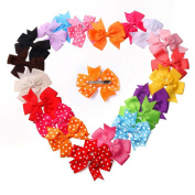 20PCS Girls Kids Baby Party Princess Ribbon Hair Bow Clip Snap Clip Barrettes Accessories