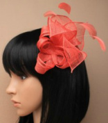 Allsorts Coral Comb Feather Fascinator Wedding Ladies Day Race Royal Ascot