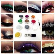 Glitter Eyes Set 1 - 10 X Glitter Pots Fix Gel & Brush Loose Glitter Eye Shadow